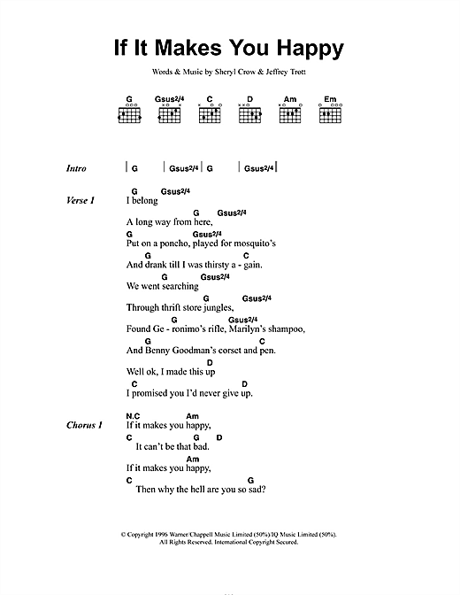 Sheryl Crow If It Makes You Happy sheet music notes and chords. Download Printable PDF.