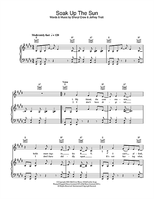 Sheryl Crow Soak Up The Sun sheet music notes and chords. Download Printable PDF.