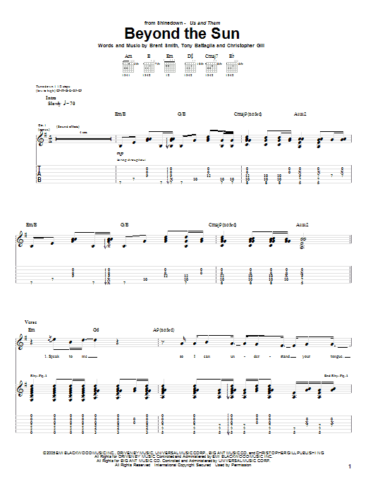 Shinedown Beyond The Sun sheet music notes and chords. Download Printable PDF.