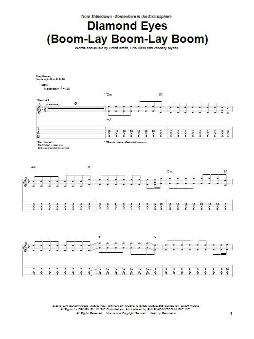Shinedown Diamond Eyes (Boom-Lay Boom-Lay Boom) sheet music notes and chords. Download Printable PDF.