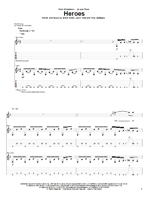 Shinedown Heroes sheet music notes and chords. Download Printable PDF.