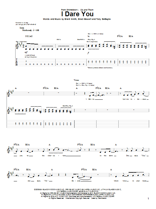 Shinedown I Dare You sheet music notes and chords. Download Printable PDF.
