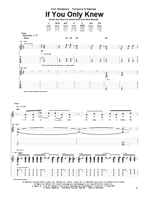 Shinedown If You Only Knew sheet music notes and chords. Download Printable PDF.