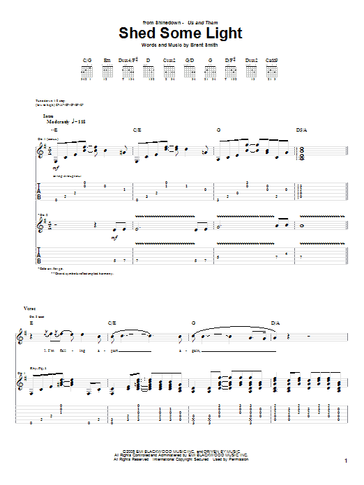 Shinedown Shed Some Light sheet music notes and chords. Download Printable PDF.