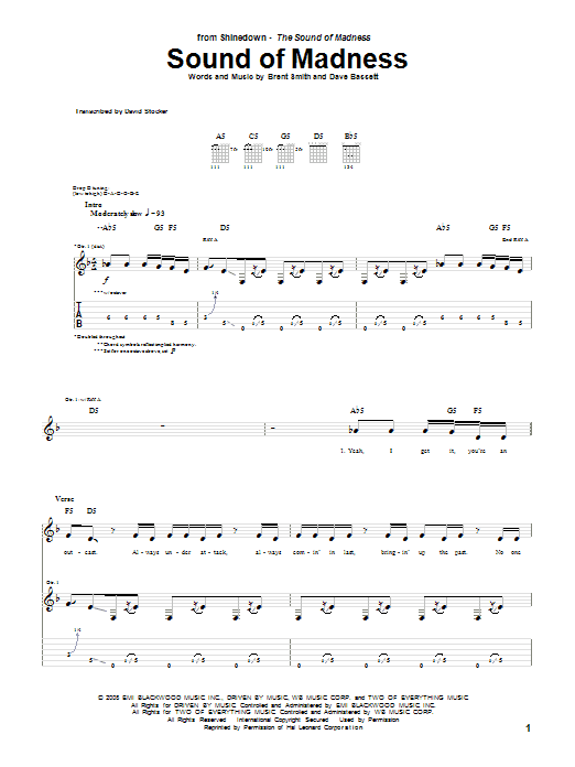 Shinedown Sound Of Madness sheet music notes and chords. Download Printable PDF.