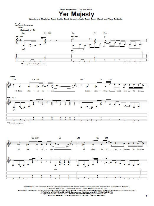 Shinedown Yer Majesty sheet music notes and chords. Download Printable PDF.