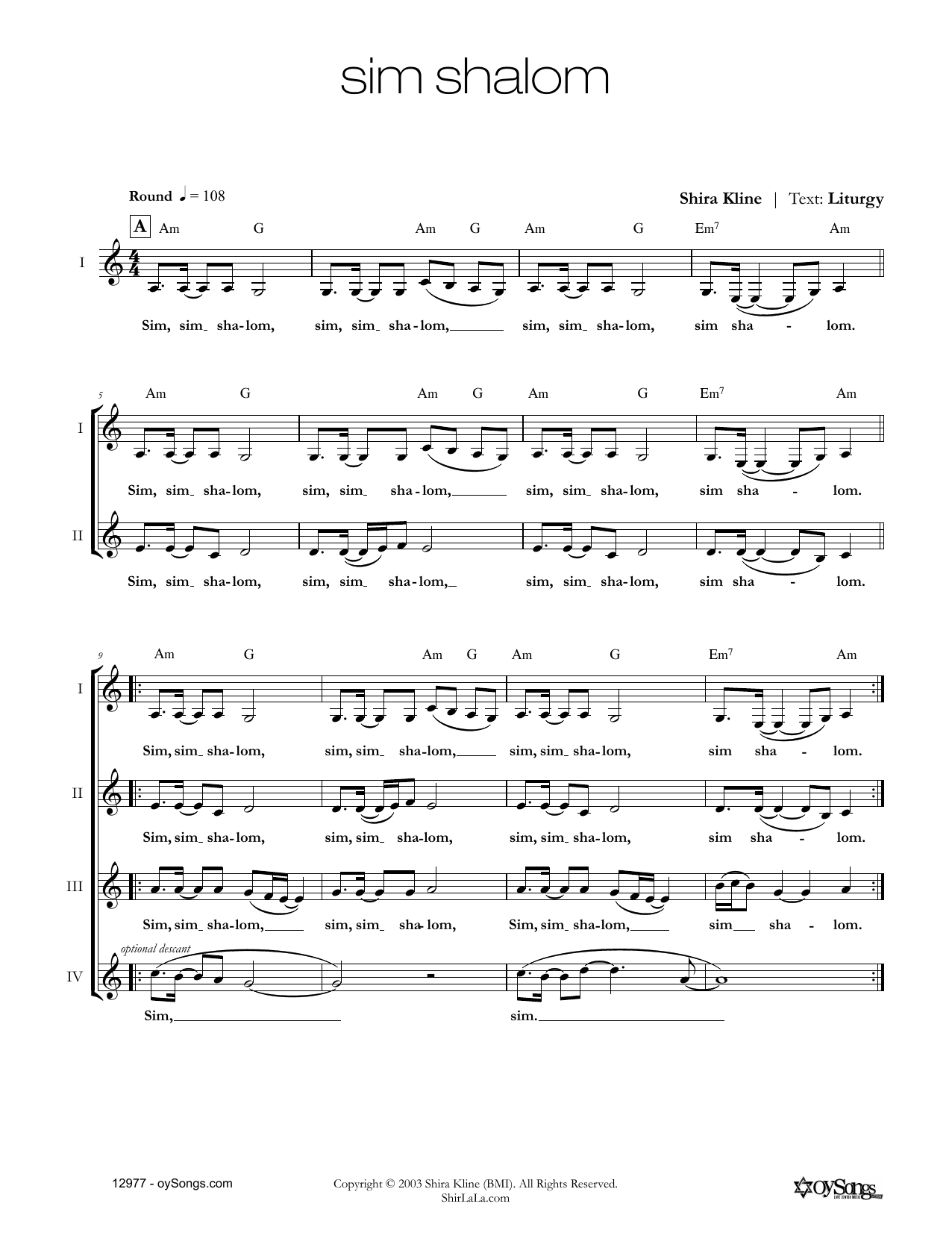 Shira Kline Sim Shalom sheet music notes and chords. Download Printable PDF.