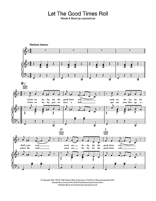 Shirley & Lee Let The Good Times Roll sheet music notes and chords. Download Printable PDF.