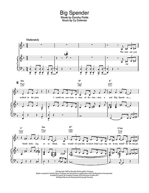 Shirley Bassey Big Spender (from Sweet Charity) sheet music notes and chords. Download Printable PDF.