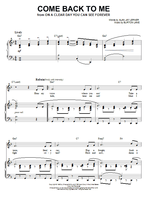 Shirley Horn Come Back To Me sheet music notes and chords. Download Printable PDF.