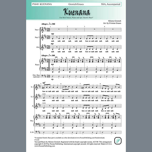 Easily Download Shlomo Gronich Printable PDF piano music notes, guitar tabs for SSA Choir. Transpose or transcribe this score in no time - Learn how to play song progression.
