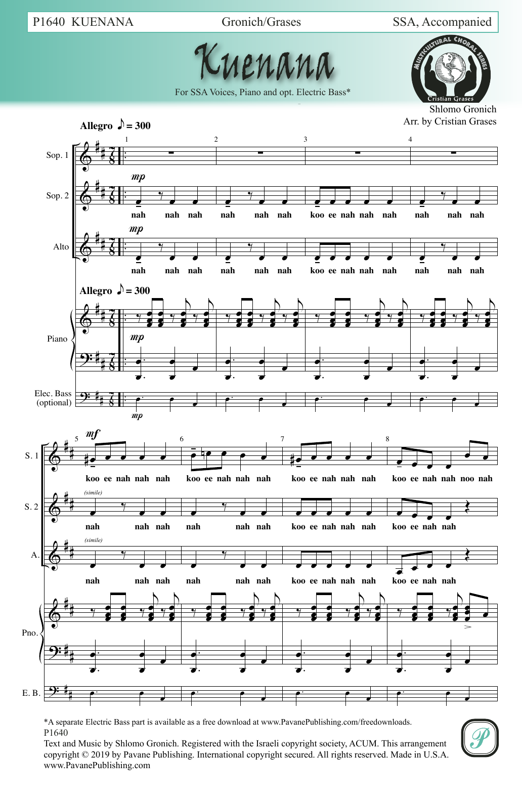 Shlomo Gronich Kuenana (arr. Cristian Grases) sheet music notes and chords. Download Printable PDF.