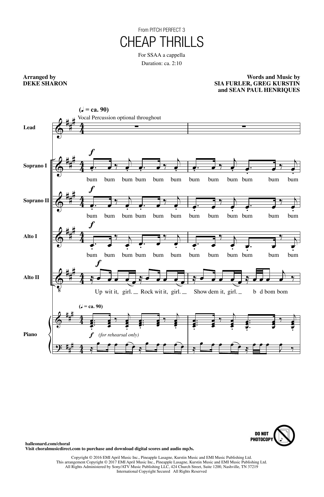 Sia Cheap Thrills (from Pitch Perfect 3) (arr. Deke Sharon) sheet music notes and chords. Download Printable PDF.