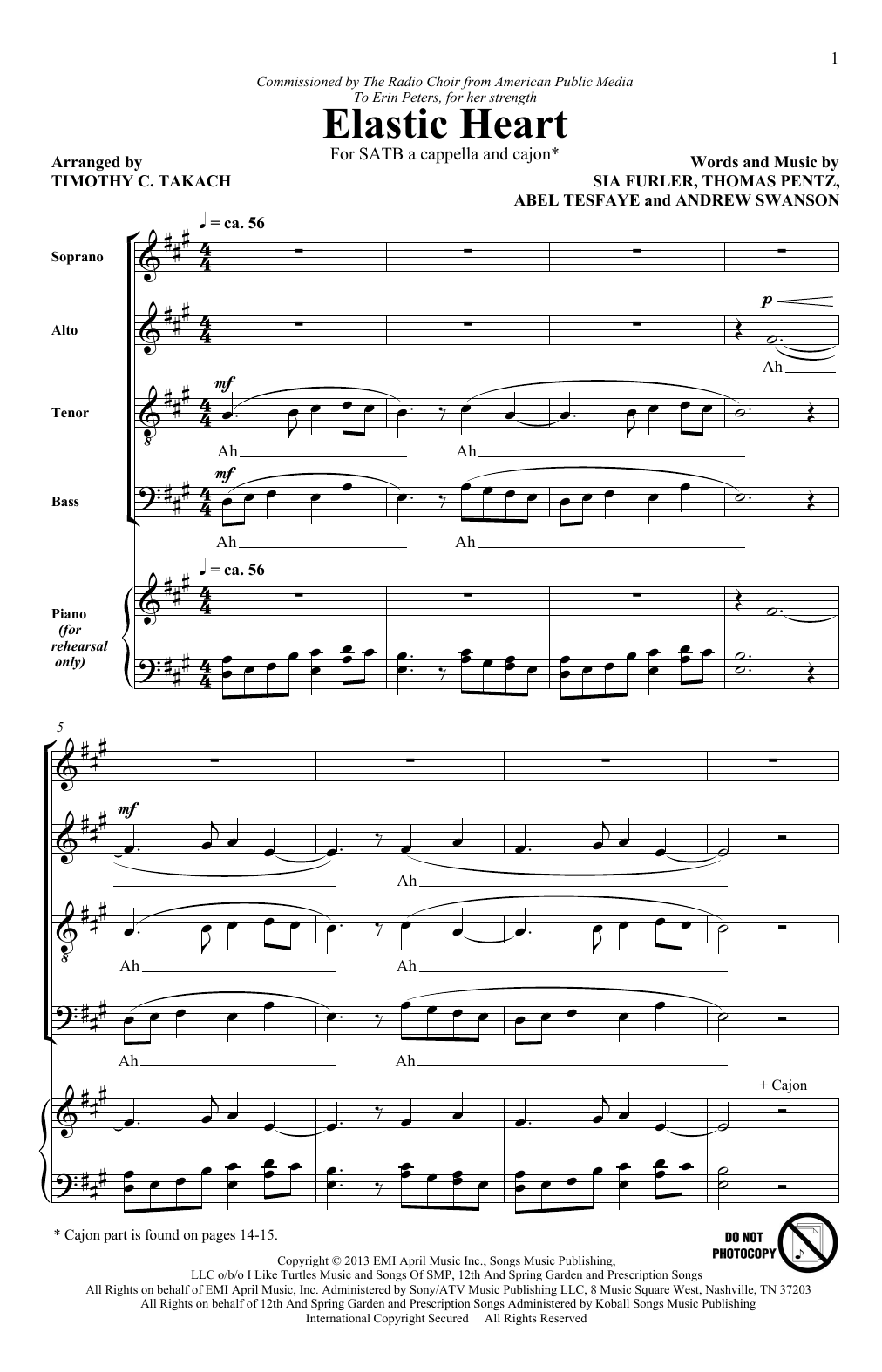 Sia Elastic Heart feat. The Weeknd and Diplo arr. Timothy C. Takach  Sheet Music Notes, Chords   Download Printable SATB Choir PDF Score   SKU  ...