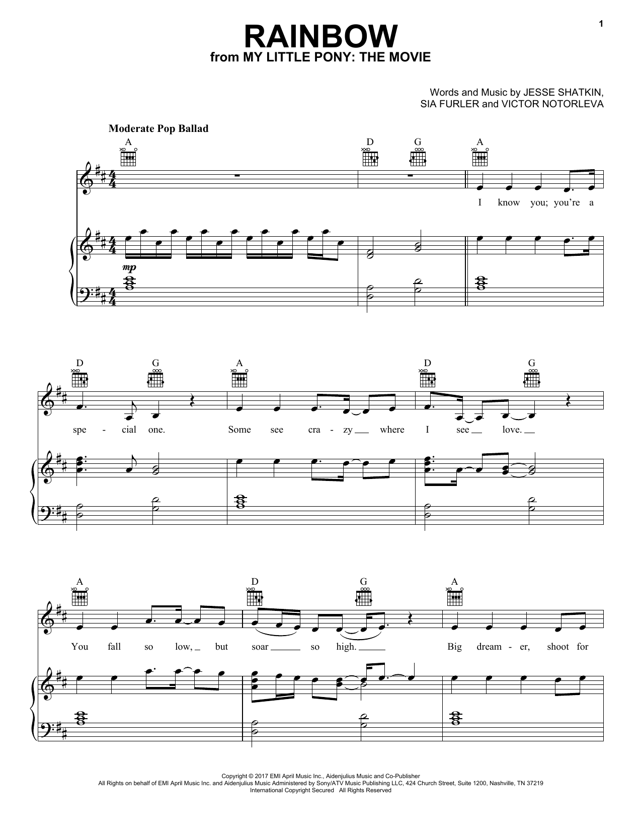 Sia Rainbow sheet music notes and chords