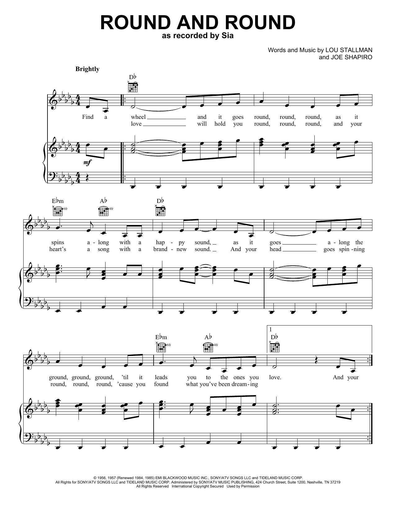Sia Round And Round sheet music notes and chords. Download Printable PDF.