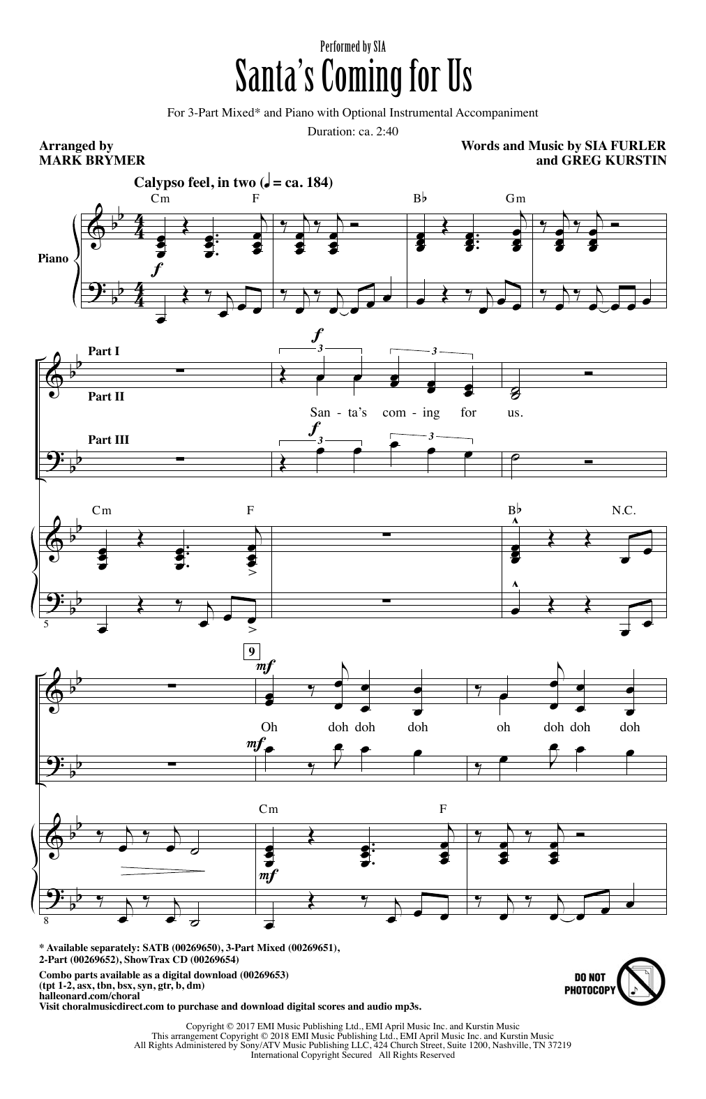 Sia Santa's Coming For Us (arr. Mark Brymer) sheet music notes and chords