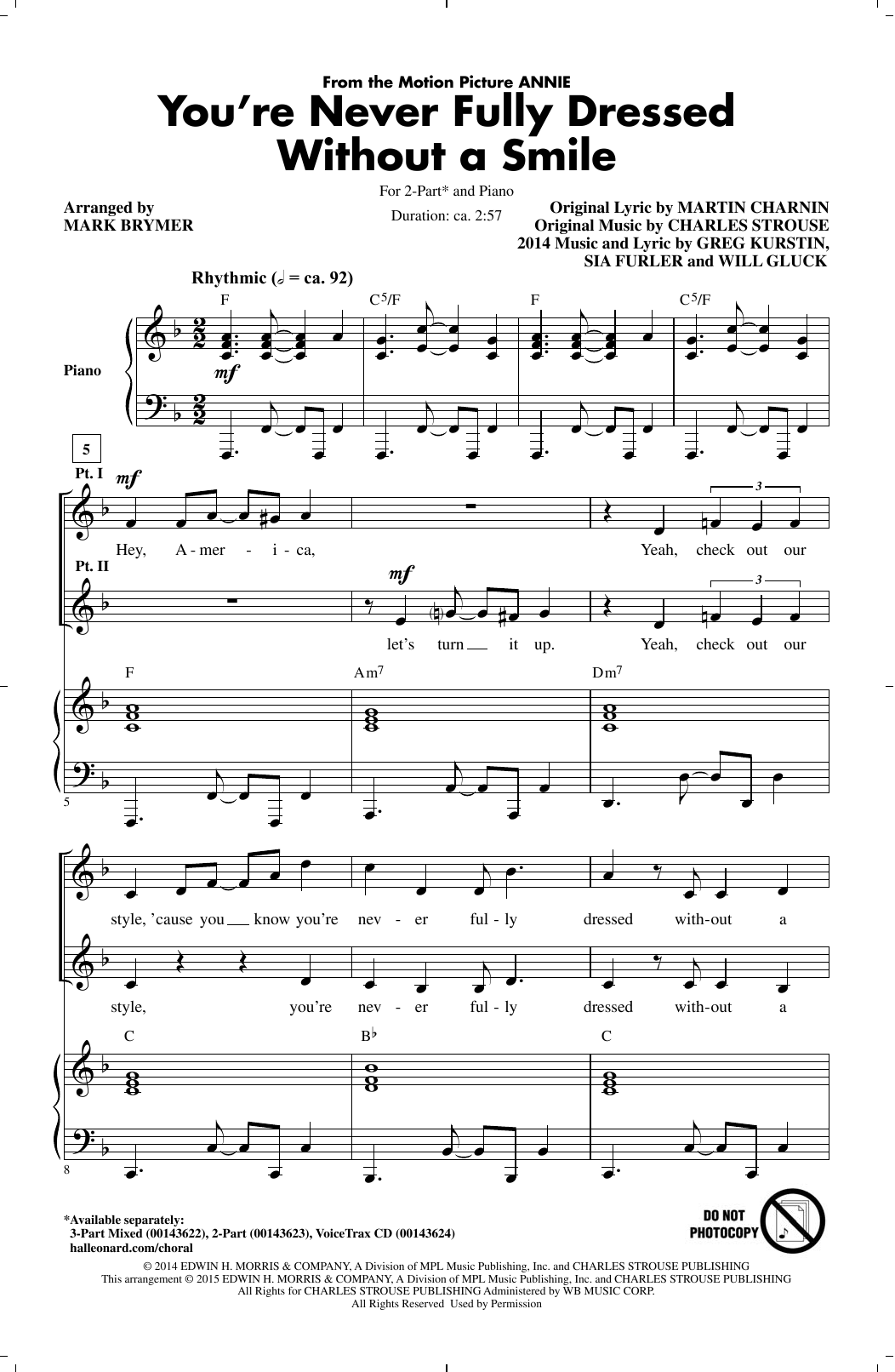 Sia You're Never Fully Dressed Without A Smile (from 'Annie' 2014 Film Version) (arr. Mark Brymer) sheet music notes and chords