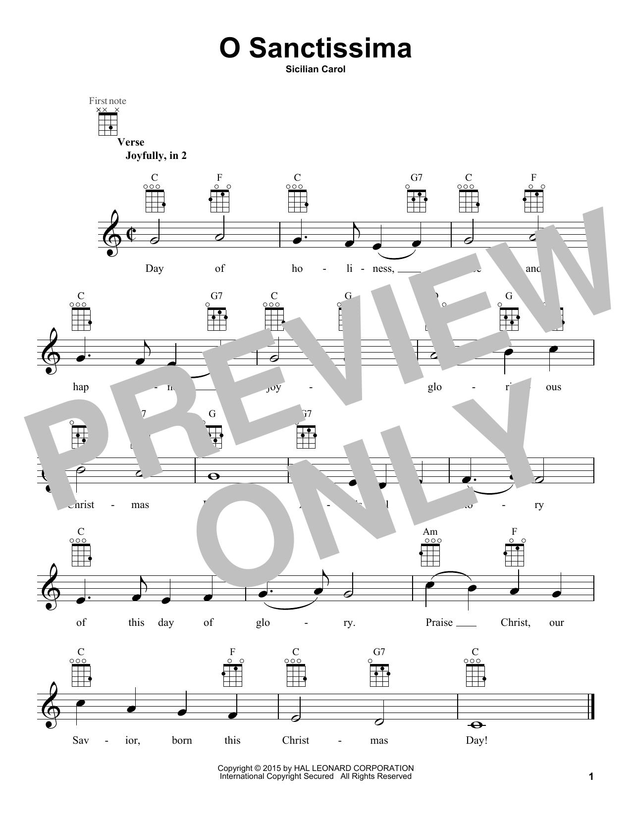 Traditional Carol O Sanctissima sheet music notes and chords. Download Printable PDF.