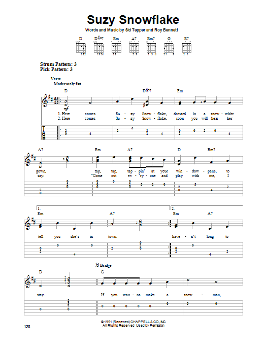 Sid Tepper Suzy Snowflake sheet music notes and chords. Download Printable PDF.