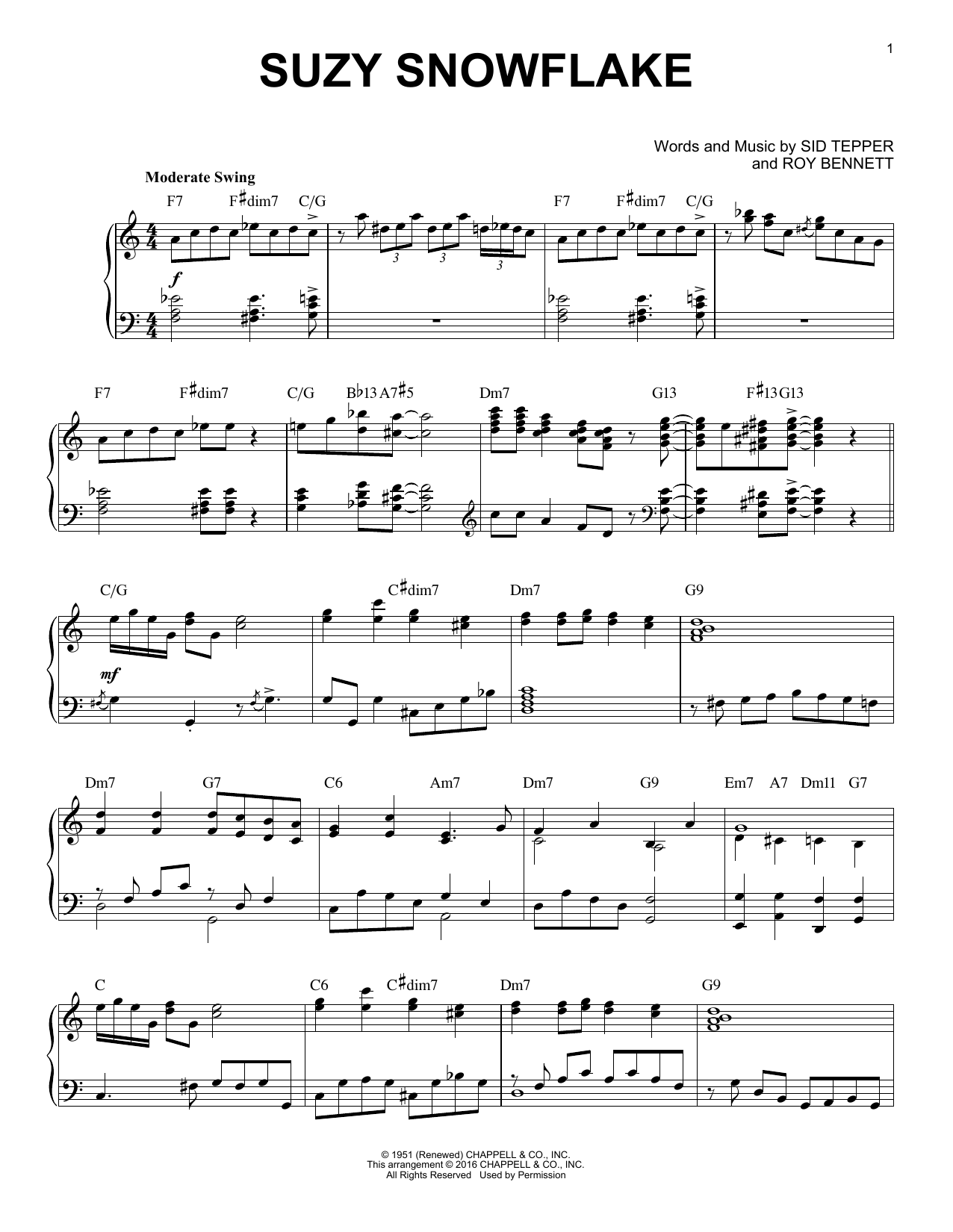 Sid Tepper Suzy Snowflake [Jazz version] (arr. Brent Edstrom) sheet music notes and chords. Download Printable PDF.