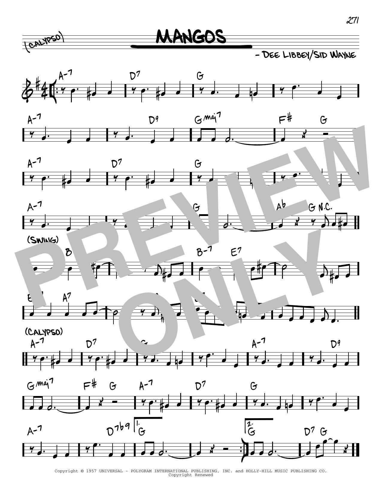 Sid Wayne Mangos sheet music notes and chords. Download Printable PDF.