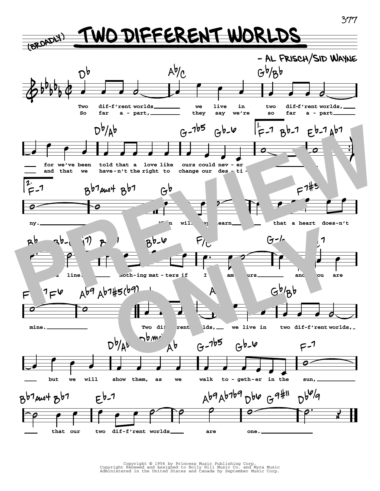 Sid Wayne Two Different Worlds (High Voice) sheet music notes and chords. Download Printable PDF.
