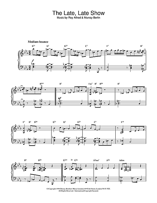 Sidney Arodin The Late, Late Show sheet music notes and chords