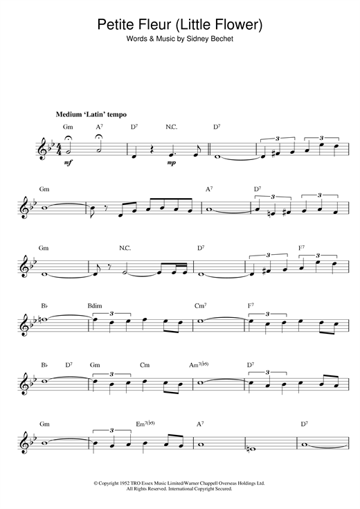 Sidney Bechet Petite Fleur (Little Flower) sheet music notes and chords. Download Printable PDF.