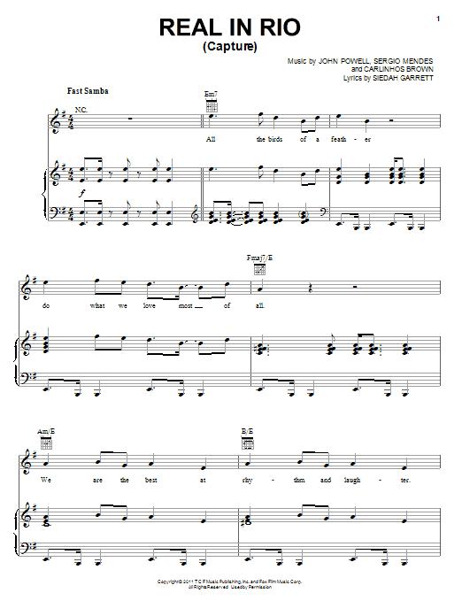 Siedah Garrett Real In Rio (Capture) sheet music notes and chords. Download Printable PDF.