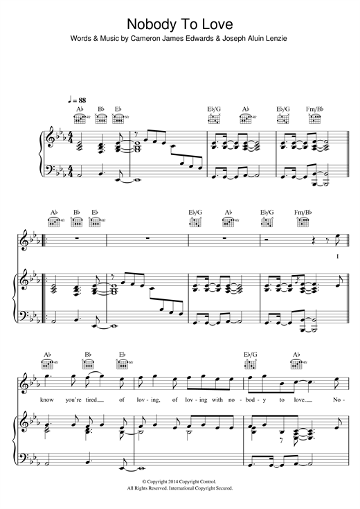Sigma 'Nobody To Love' Sheet Music Notes, Chords | Download Printable  Piano, Vocal & Guitar - SKU: 119363