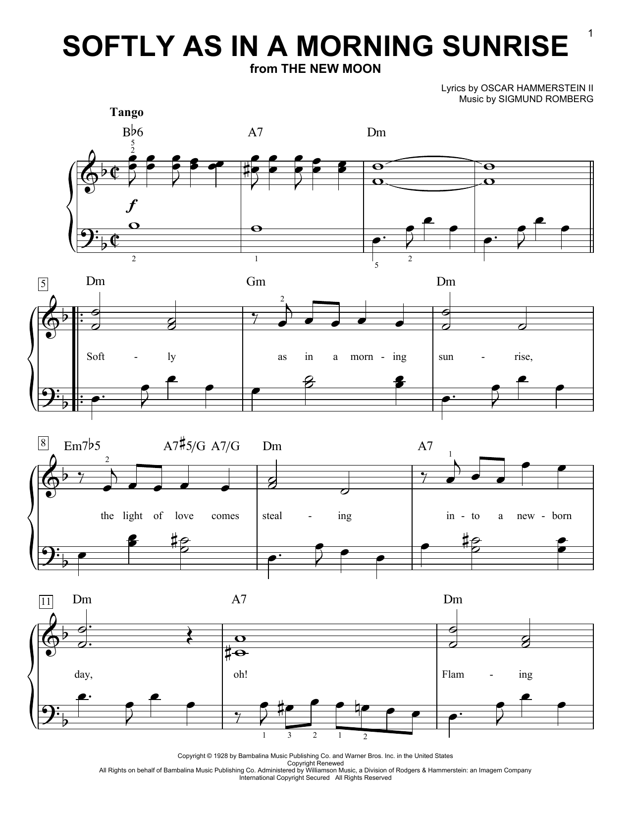 Sigmund Romberg Softly As In A Morning Sunrise sheet music notes and chords. Download Printable PDF.