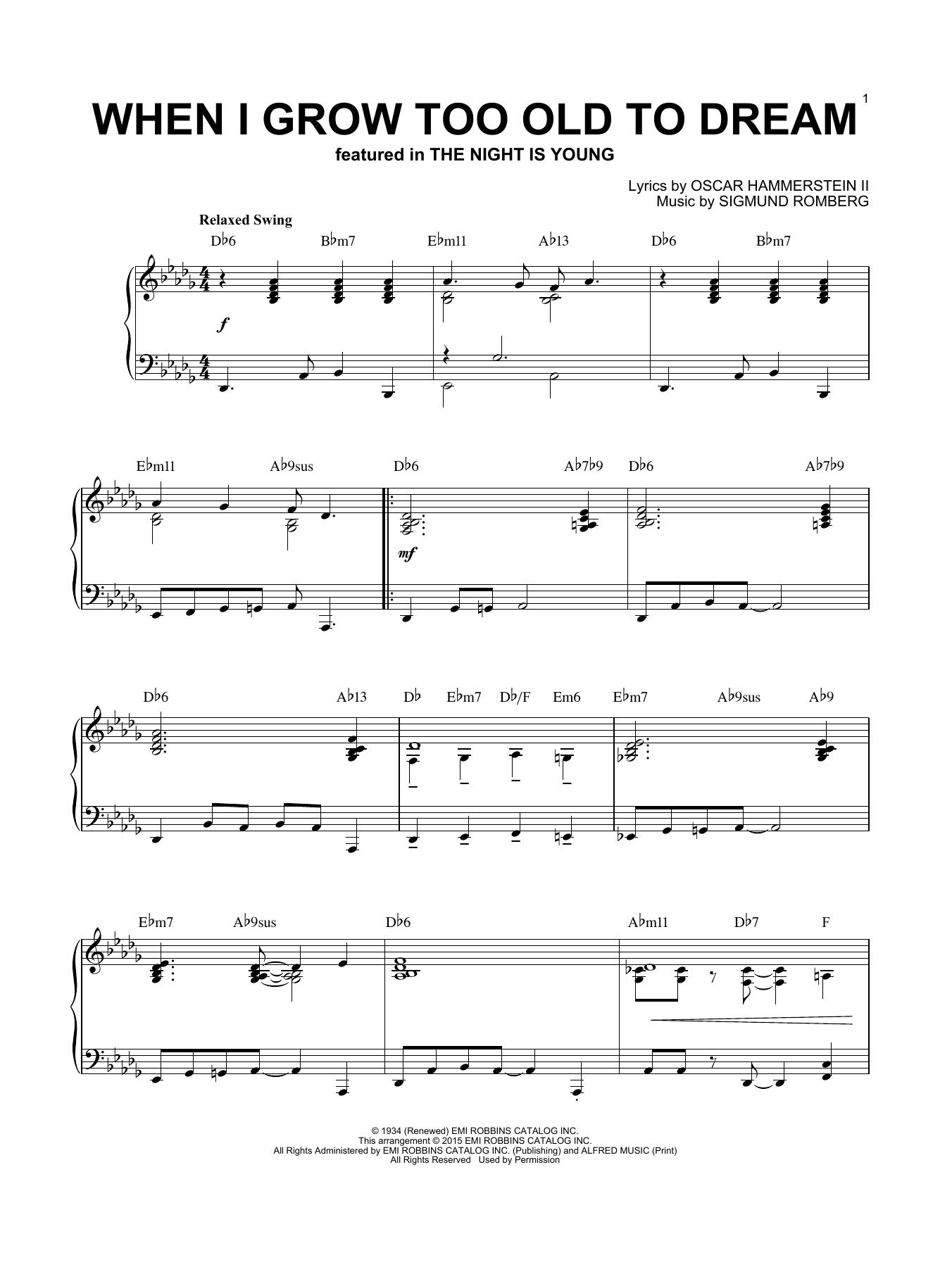 Sigmund Romberg When I Grow Too Old To Dream [Jazz version] (arr. Brent Edstrom) sheet music notes and chords. Download Printable PDF.