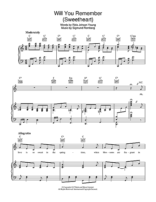 Sigmund Romberg Will You Remember sheet music notes and chords