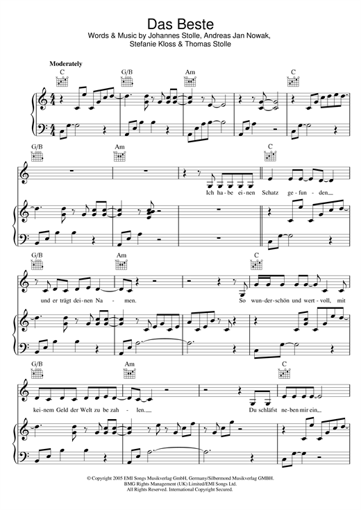 Silbermond Das Beste sheet music notes and chords. Download Printable PDF.