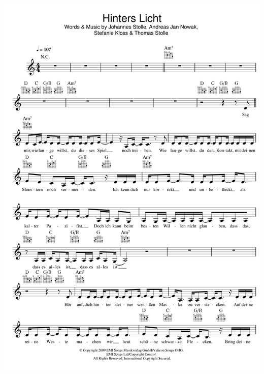 Silbermond Hinters Licht sheet music notes and chords. Download Printable PDF.