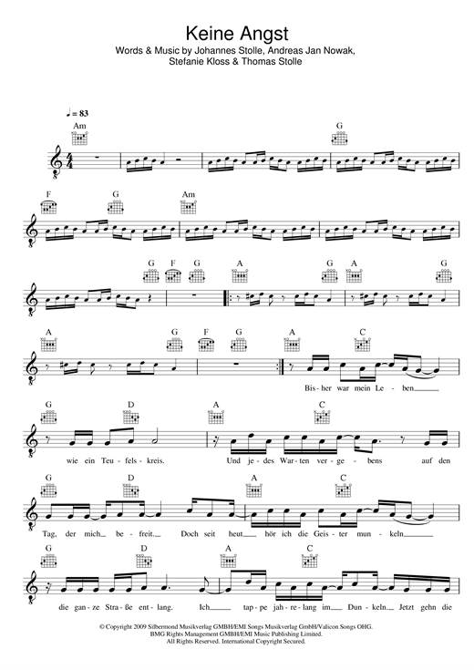 Silbermond Keine Angst sheet music notes and chords. Download Printable PDF.