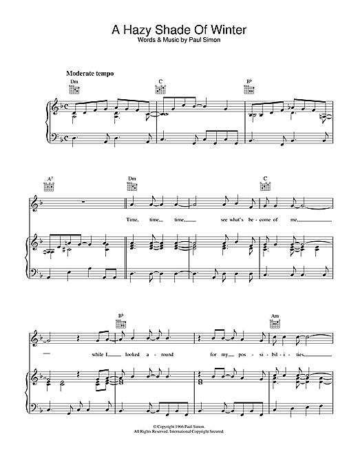 Simon & Garfunkel A Hazy Shade Of Winter sheet music notes and chords. Download Printable PDF.