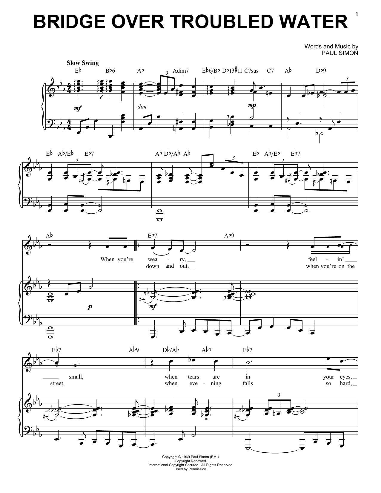Simon & Garfunkel Bridge Over Troubled Water [Jazz version] (arr. Brent Edstrom) sheet music notes and chords. Download Printable PDF.