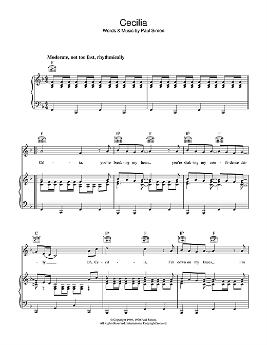 Simon & Garfunkel Cecilia sheet music notes and chords. Download Printable PDF.