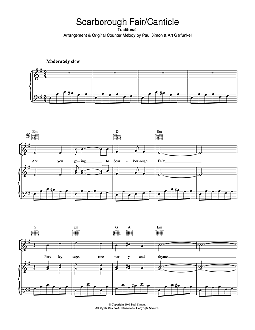 Simon & Garfunkel Scarborough Fair/Canticle sheet music notes and chords. Download Printable PDF.