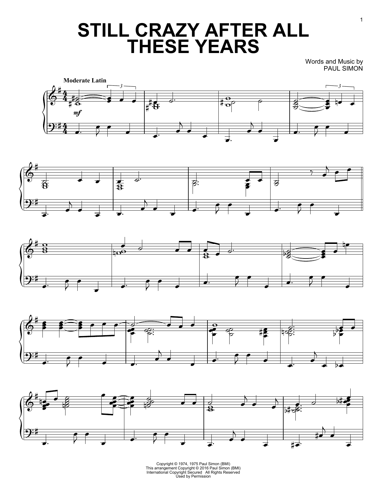 Simon & Garfunkel Still Crazy After All These Years sheet music notes and chords. Download Printable PDF.