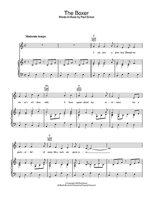 Simon & Garfunkel 'The Boxer' Sheet Music Notes, Chords | Download  Printable Guitar Tab (Single Guitar) - SKU: 89886