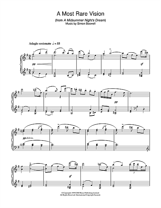 Simon Boswell A Most Rare Vision (from A Midsummer's Night's Dream) sheet music notes and chords. Download Printable PDF.