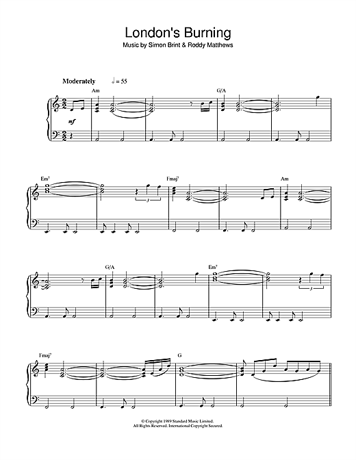 Simon Brint Theme from London's Burning sheet music notes and chords. Download Printable PDF.