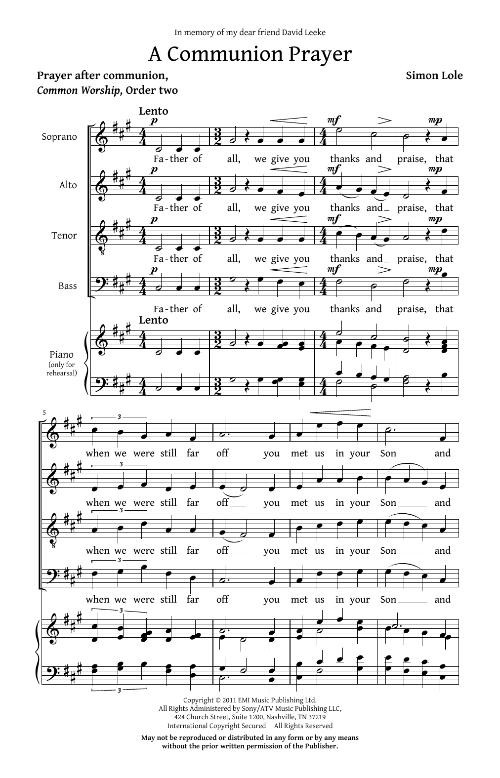 Simon Lole A Communion Prayer sheet music notes and chords