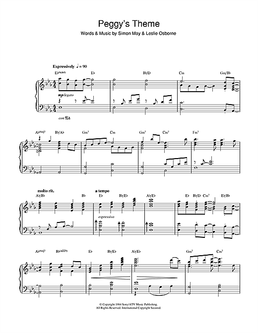 Simon May Peggy's Theme (Variation Of Julia's Theme From Eastenders) sheet music notes and chords. Download Printable PDF.