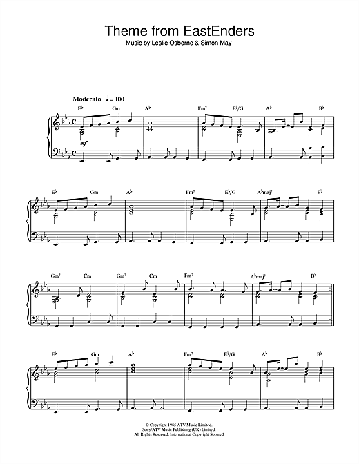 Simon May Theme from EastEnders sheet music notes and chords. Download Printable PDF.