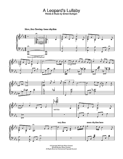 Simon Mulligan A Leopard's Lullaby sheet music notes and chords. Download Printable PDF.