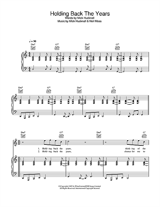 Simply Red Holding Back The Years sheet music notes and chords. Download Printable PDF.